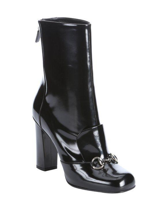 8a82620c171 Gucci black patent leather  Regent  horsebit high heel mid-calf boots Mens  Shoes
