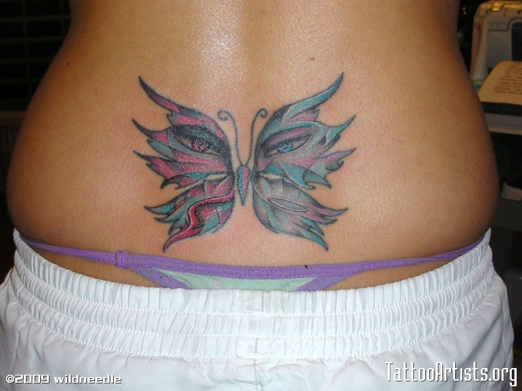 Lower Back Butterfly Tattoo With Big Eyes Back Tattoos Lower