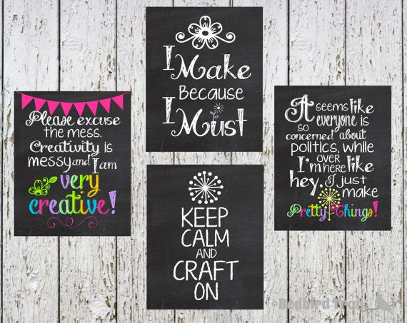 Craft Room Chalkboard Wall Art... Craft Room Typography Decor Digital  Printable 8x10.