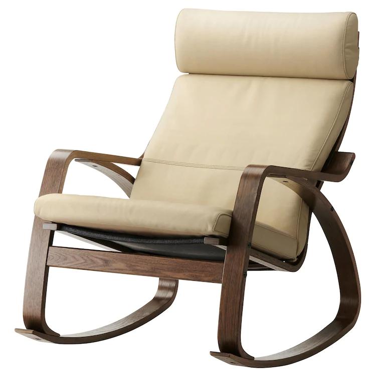 POÄNG Rocking chair brown, Glose offwhite Rocking