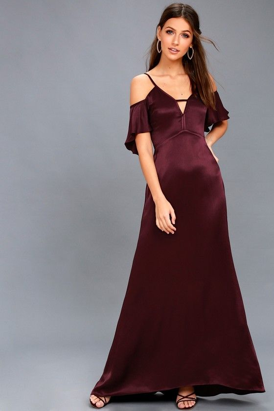 fcf6b1c6dc ... the Pony Plum Purple Satin Off-the-Shoulder Maxi Dress! Sleek satin  falls from adjustable spaghetti straps into short