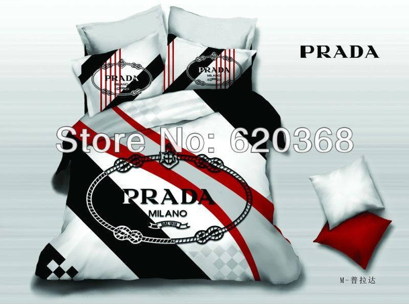 Famous Brand Name Logo Printed Bedding Sets Comforter Set Quilt Cover And Bed Sheet With Pillowcases 100 Cottonblack White 93 99 95
