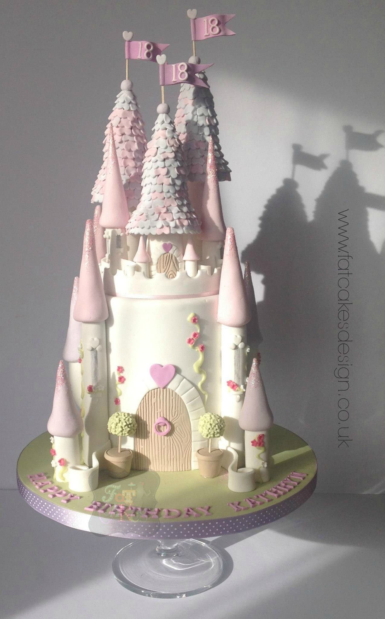 Beautiful Princess Castle Cake Pink And Purple Castle Cake With