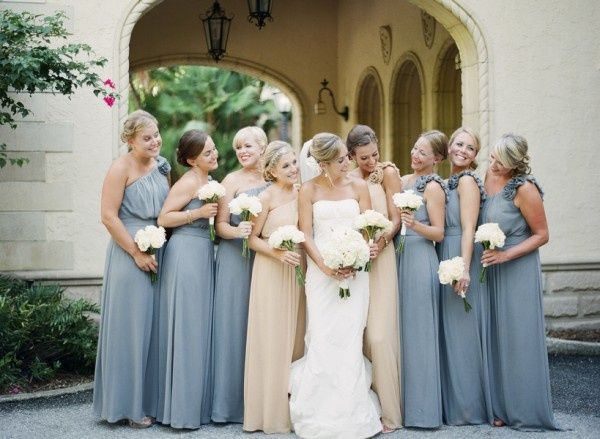 Real Bridesmaids In Beige Bridesmaid Dresses: Different Color Gowns For Maids Of Honor & Bridesmaids