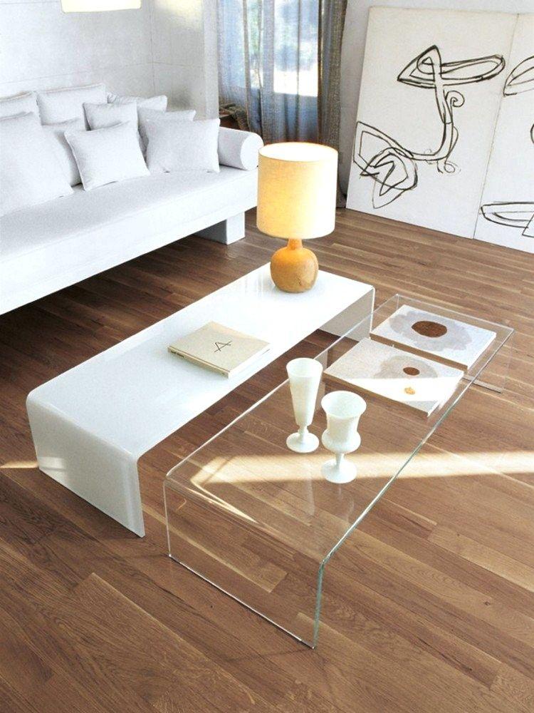 Table Salon Moderne En Verre En 2020 Decoration Salon Blanc