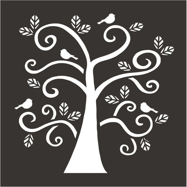 Blue Bird Tree Stencil 6 Sizes Available Create Pillows and Signs... ($11) ❤ liked on Polyvore featuring home, home decor, wall art, black, home & living, home décor, bird wall art, leaves wall art, blue bird wall art and stencil wall art