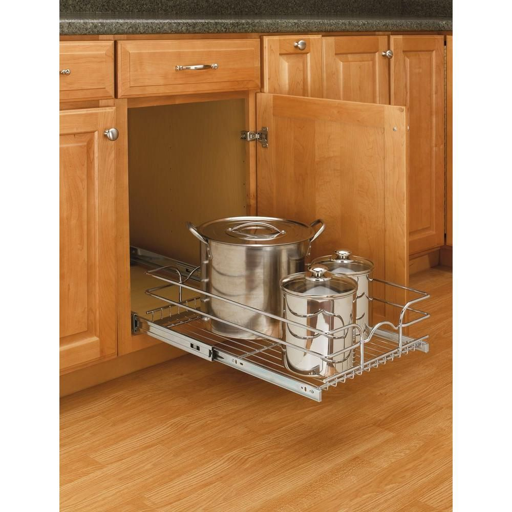 7 in. H x 14.375 in. W x 22 in. D Base Cabinet Pull-Out Chrome Wire ...