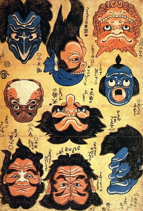 This woodblock print was published by Ezakiya Tatsuzo (c. 1842). Left to right, top to bottom (upside-down image described in parentheses): 1. Small tengu (Gedo, an evil person), 2. King Zhou, Shang Dynasty (Guan Yu), 3. Wind god (Thunder), 4. Nyudo (Pair of frogs), 5. Tengu looking up (Tengu looking down), 6. Tofu Kozo (Mitsume Kozo), 7. Onamuchi-no-mikoto, Shinto god of nation-building, farming, business and medicine (Iruka-no-omi), 8. Cao Cao (Shoki, Zhang Fei), 9. Mikenja (Ghost of…