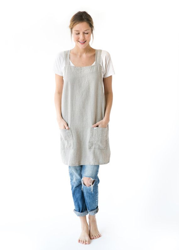 bb921520ee9 Linen Cross Back Apron in Sand Natural