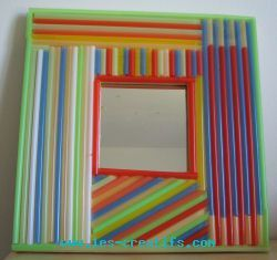 Kids Craft Activities Decorating A Mirror With Drinking Straws The Very Vivid Shades Of These Give This Some Great Pop Vibes