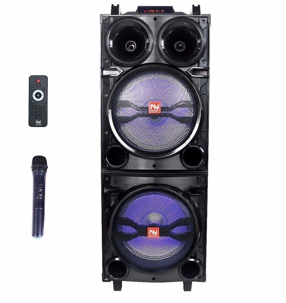 Nutek Dual 10 Inch Portable Bluetooth PA Speaker Super