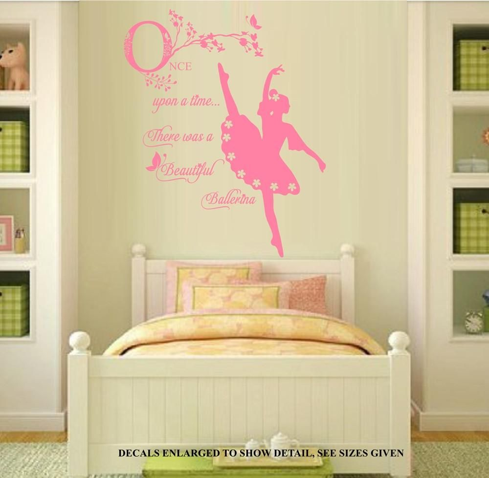 ONCE UPON A TIME BALLERINA SILHOUETTE GIRLS QUOTE WALL ART STICKER ...