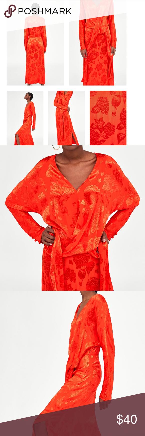 Zara jacquard maxi kimono style dress with knot boutique my posh