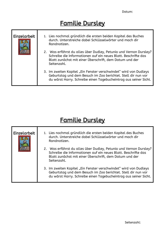 Familie Dursley Zu Beschaftigt Einzelarbeit Bucher
