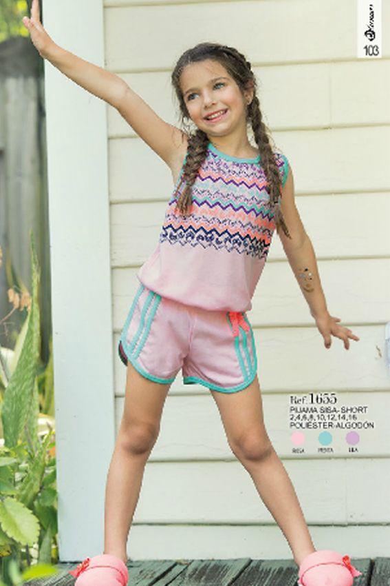 Pijama sisa short Ref: 1655 Tallas: 2, 4, 6, 8, 12,14,16 Colores: menta, lila, rosa