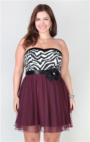 deb store plus size strapless dress with zebra corset and