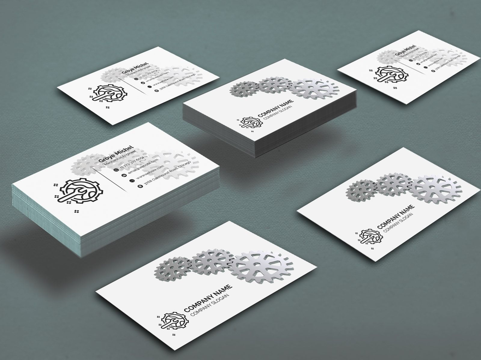 Elegant Mechanical Engineer Business Card Mechanical Engineering Spa Business Cards Design Business Cards Collection