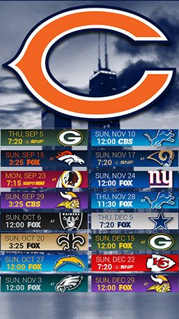 Chicago Bears 2019 Mobile City NFL Schedule Wallpaper