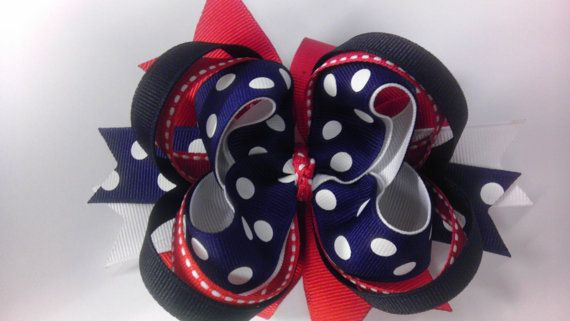 Red White & Navy Patriotic or Nautical Bow by JSKoutureDesigns, $7.00