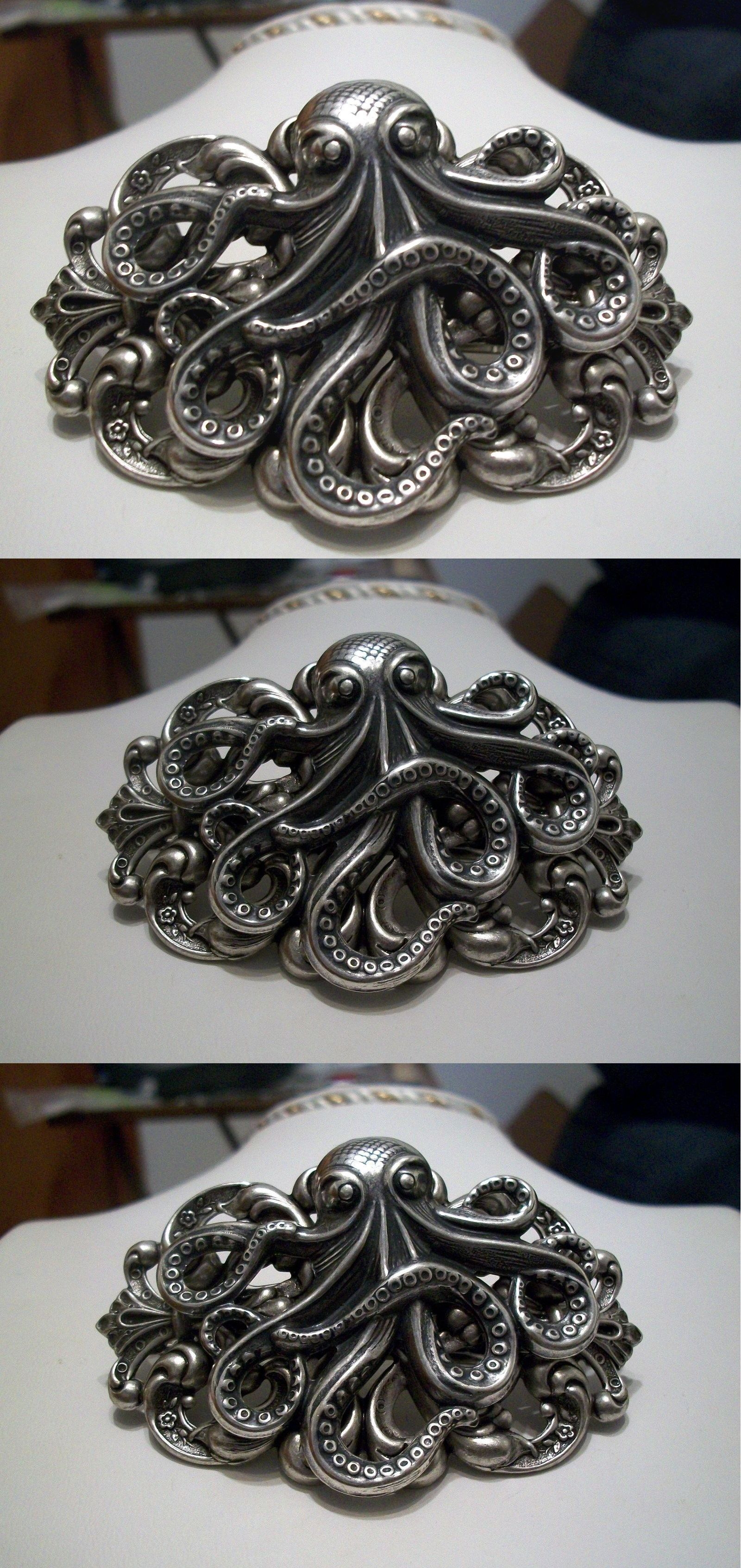 Pins and Brooches 50677: Sterling Silver Pltd Octopus Kraken Cthulhu Steampunk Lrg Pirate Hat Pin Brooch -> BUY IT NOW ONLY: $38.95 on eBay!