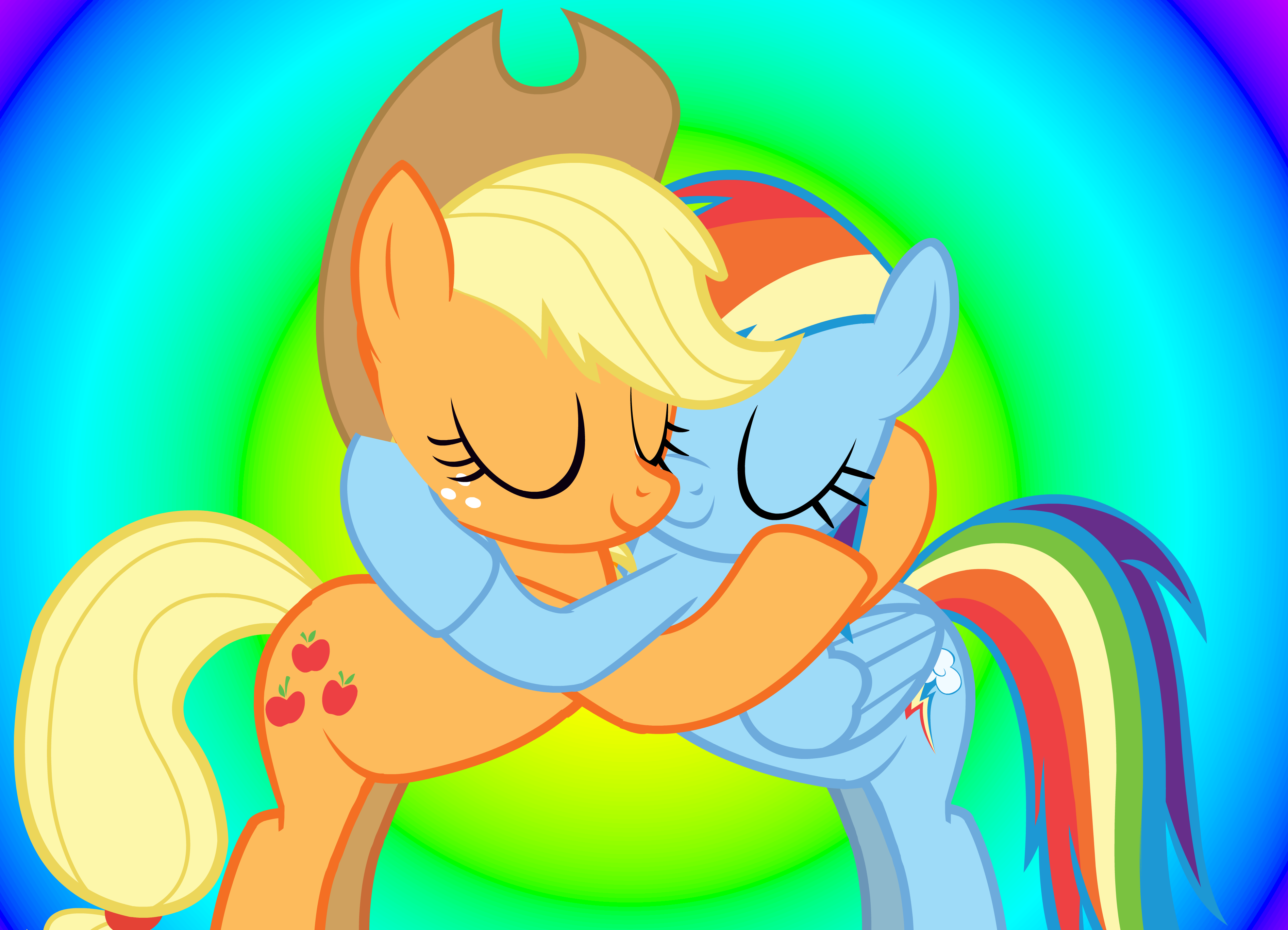 My Little Shipping Pony Applejack And Rainbow Dash Hugging Appledash