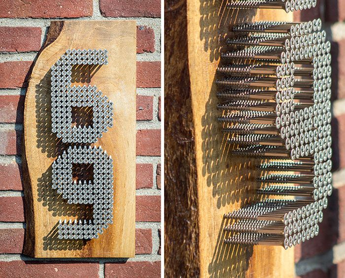 Use reclaimed wood and screws to make a personalized house number sign.