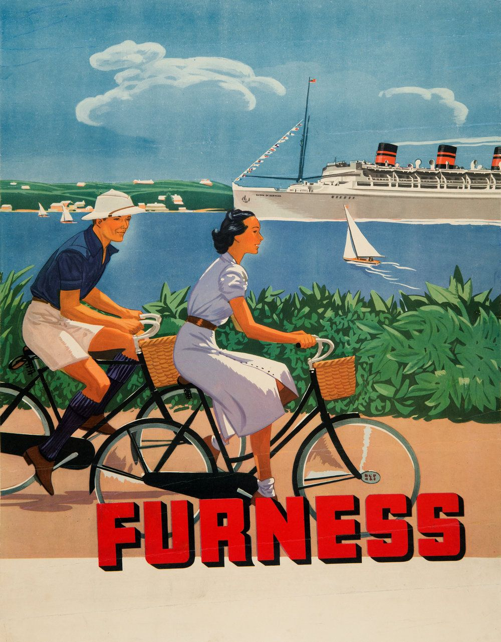 Vintage Travel Poster Showing The Queen Of Bermuda Cruise Ship - Queen of bermuda cruise ship