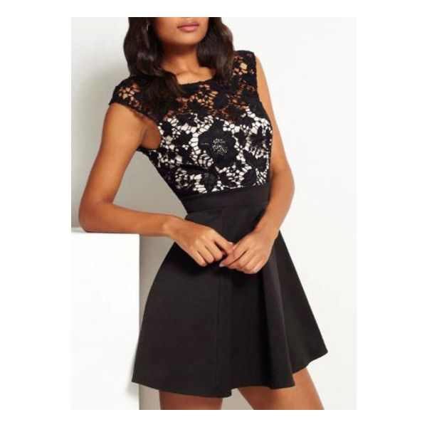 a5654a5ab7 SheIn(sheinside) Black Superb Easter Custom Cap Sleeve With Lace Dress  ( 14) ❤ liked on Polyvore featuring dresses