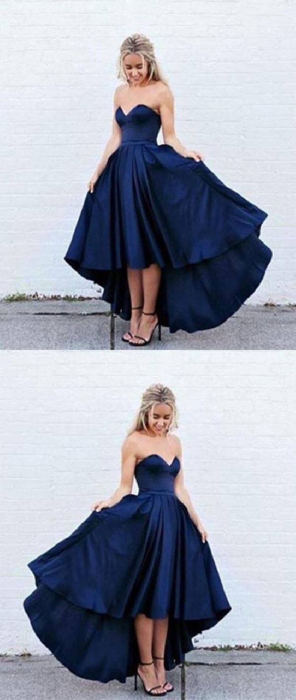 Dark blue blue high low simple seve prom dresses