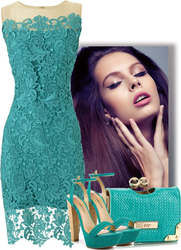 """Turquoise Lace Dress"" by snigi ❤ liked on Polyvore"