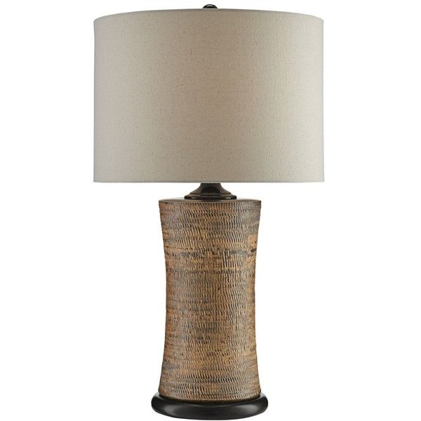 Currey and company malabar tan ceramic table lamp €380 ❤ liked on polyvore