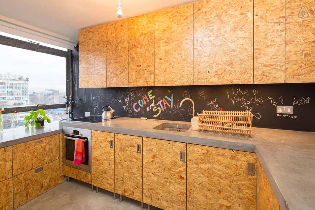 love this airbnb flat in london with osb chipboard kitchen new rh pinterest com
