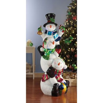 """60"""" Stacking Snowmen with LED Lights $299 99 at Costco"""