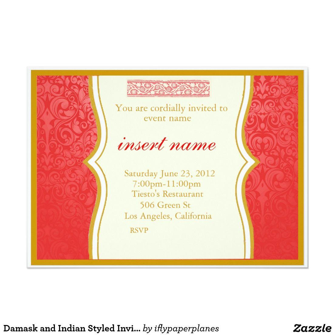Damask and Indian Styled Invite | Wedding decor | Pinterest | Indian ...