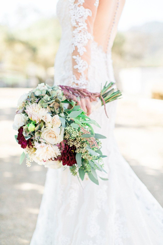 Bridal Bouquet With Merlot Dahlias Blush Dahlias Sand Roses