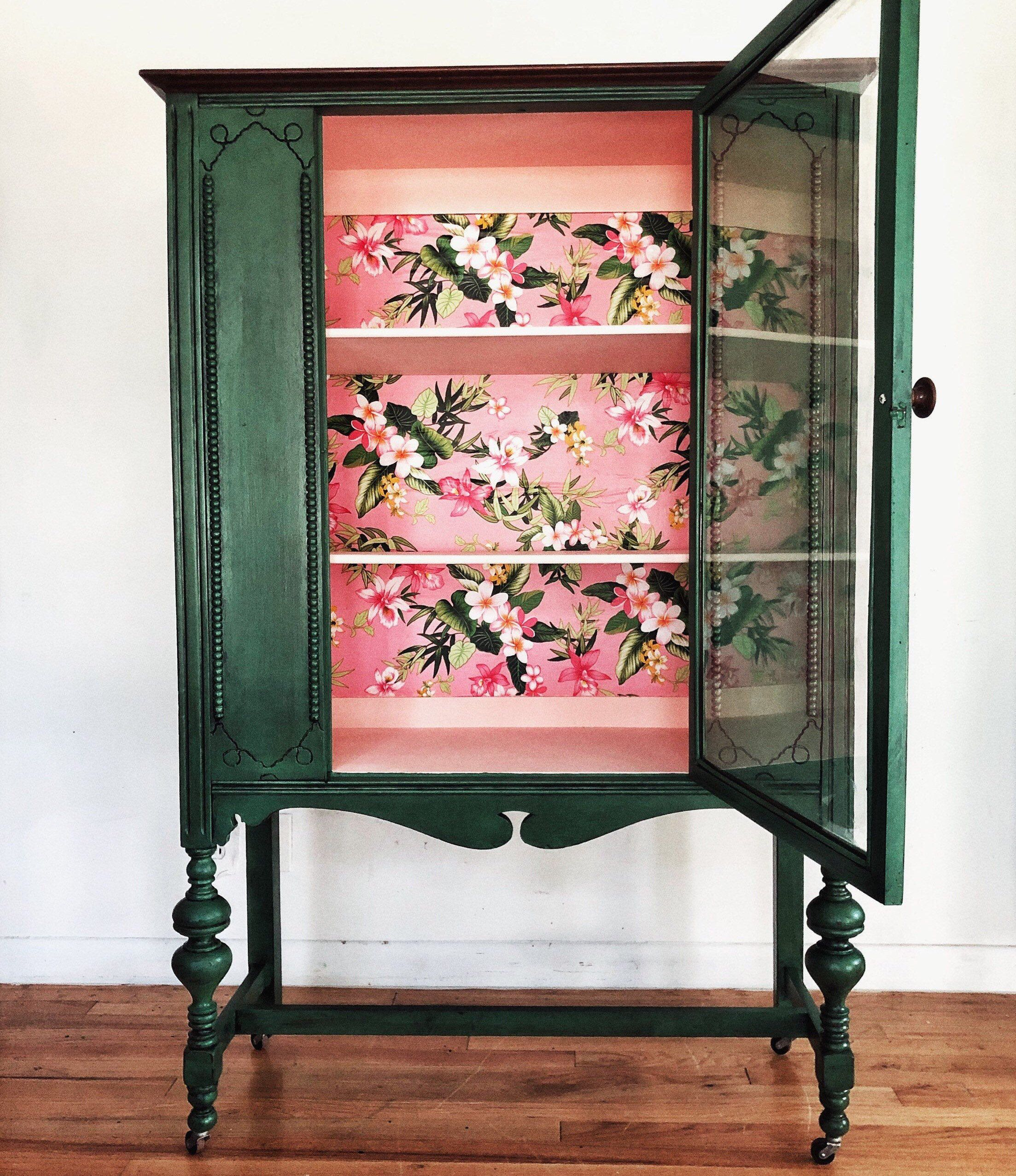 Green Vintage China Cabinet With Hawaiian Floral Fabric Etsy Vintage China Cabinets Furniture Makeover Painted Furniture