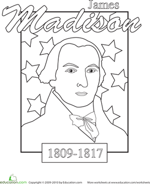 Color a U.S. President: James Madison | Colors, Presidents day and ...