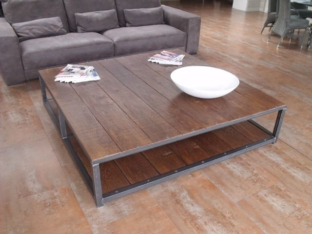 Grande Table Basse Carree 160x160 Bois Metal Industrielle Table Basse Bois Metal Grande Table Basse Carree Table Basse