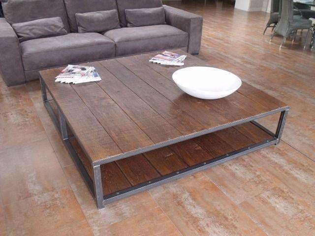 Grande Table Basse Carree 160x160 Bois Metal Industrielle Table