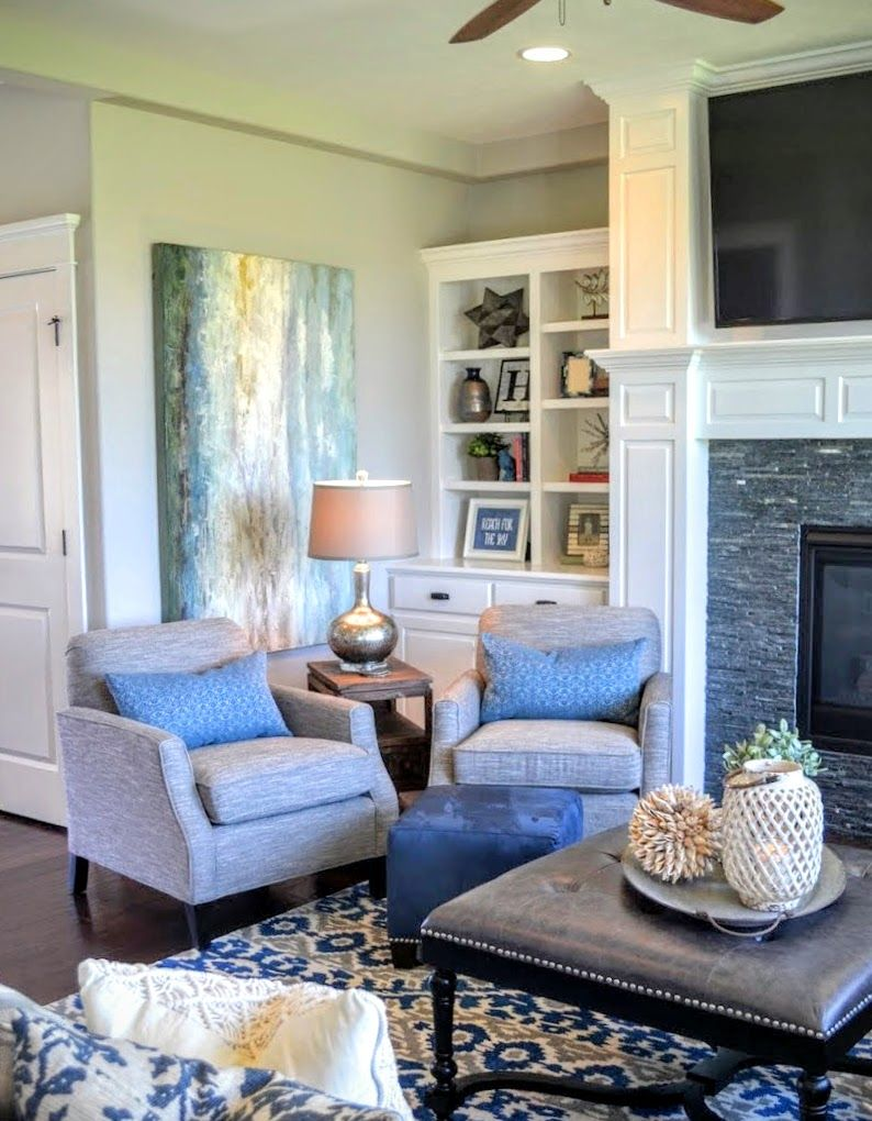 Leather Ottoman And Blue Tribal Rug.Fluff Interior Design, Omaha, NE. Interior  Designers And Decorators For REAL Life And REAL Families!