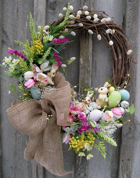 Woodland Easter Bunny Wreath by procelebrations $109 #etsy ...