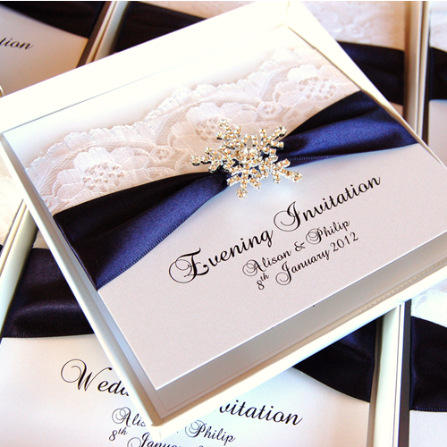 Navy Wedding Stationery- love the addition of lace, not the snowflake. Lace adds a bit of traditional and vintage to the sleek and modern navy and white.
