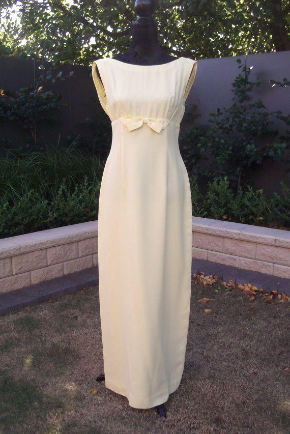 VINTAGE 1960'S Lemon Formal Gown Bridesmaid Dress by FashionReviva