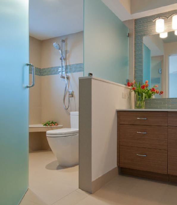 Half Wall To Divide Frosted Glass For Privacy Between Shower And