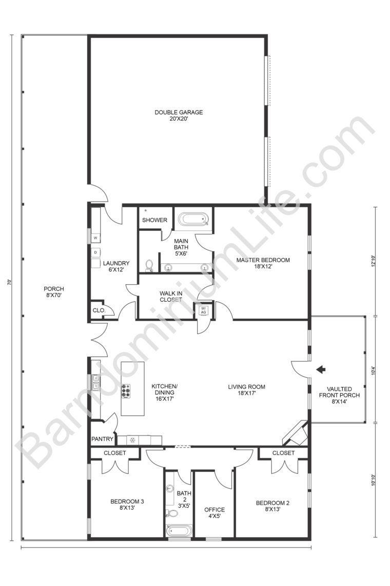 Inspiring Open Concept Barndominium Floor Plans In 2020 Barndominium Floor Plans Barn Homes Floor Plans Pole Barn House Plans