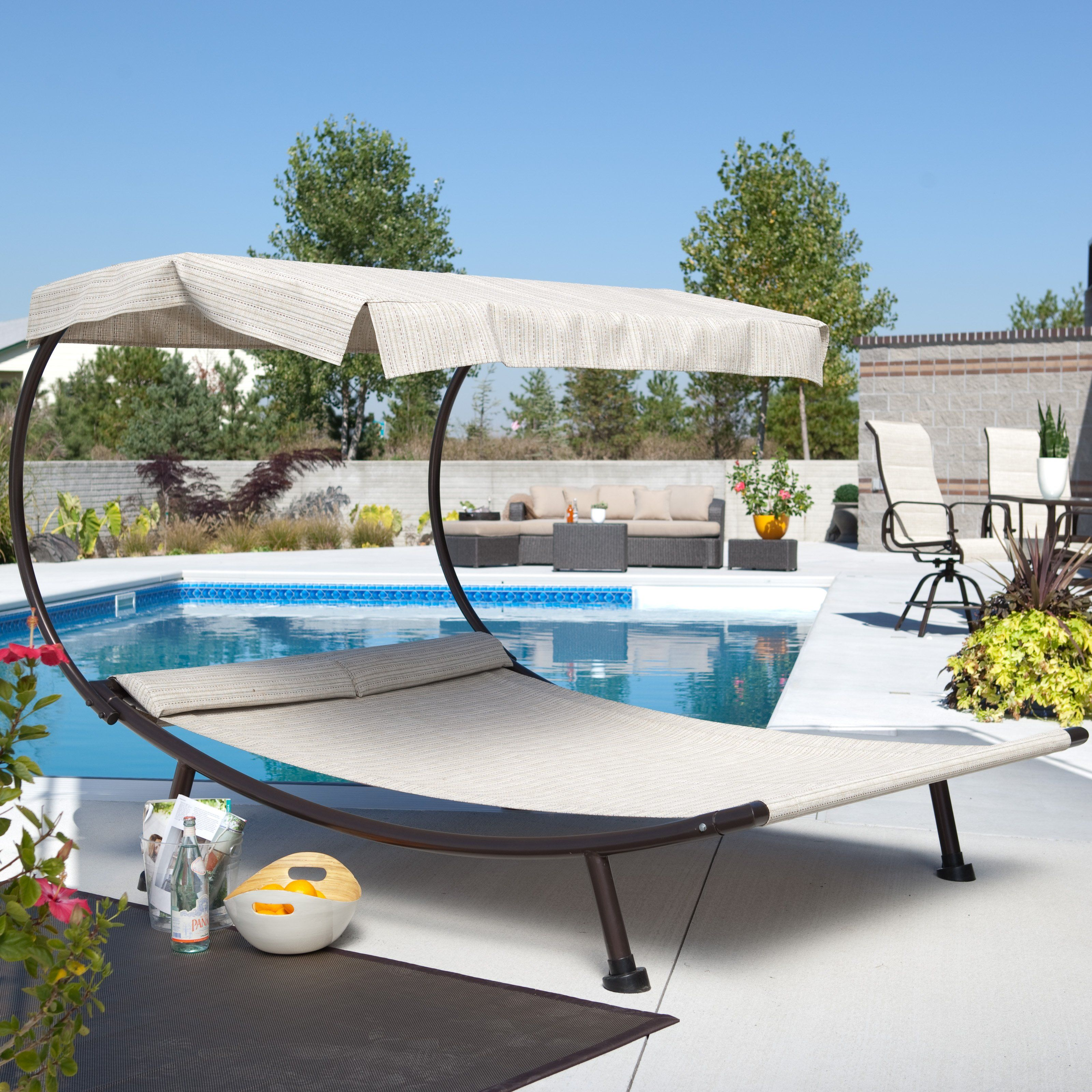 Have to have it for by the pool del rey double chaise for Chaise lounge canopy