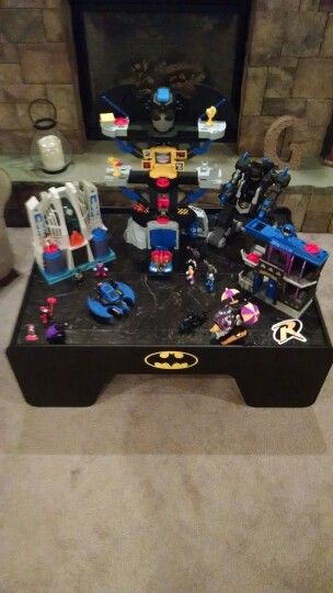 Train Table Converted To Batman Superhero Play Table. Spray Paint, Decals,  And Black