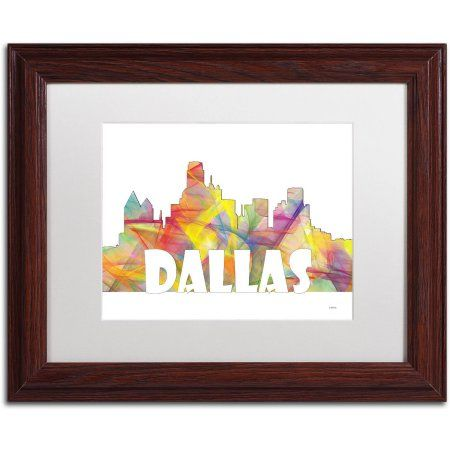 trademark fine art dallas texas skyline mclr 2 canvas art by marlene watson white matte wood frame size 11 x 14 assorted - Wood Frames For Canvas Paintings