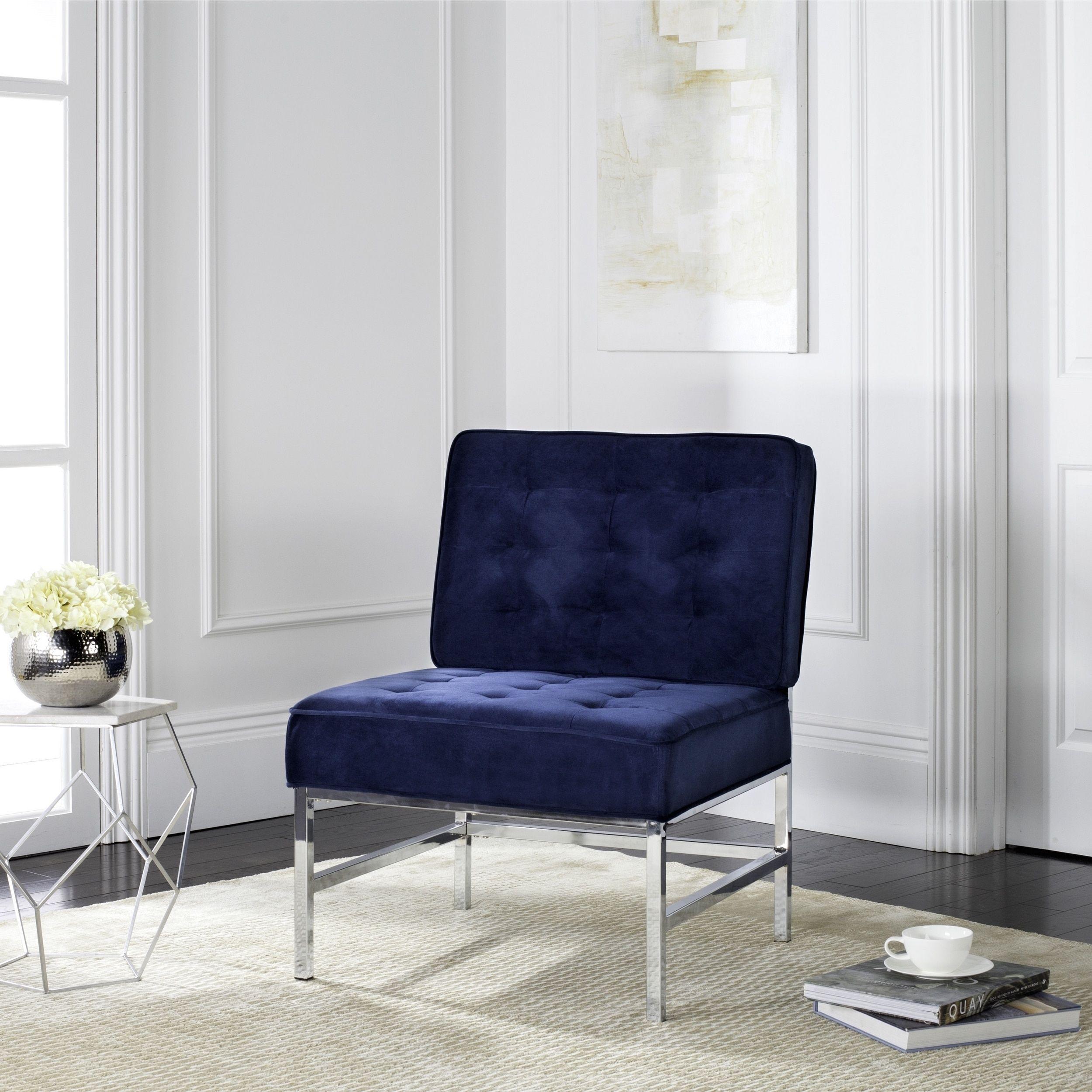 Accent chair modern - Safavieh Mid Century Modern Ansel Tufted Velvet Chrome Navy Accent Chair