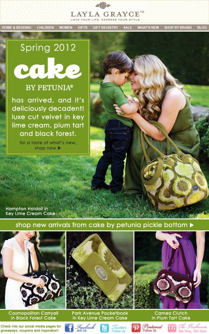 Interesting how they used cake names for their handbags   Spring 2012 Cake by Petunia Pickle Bottom